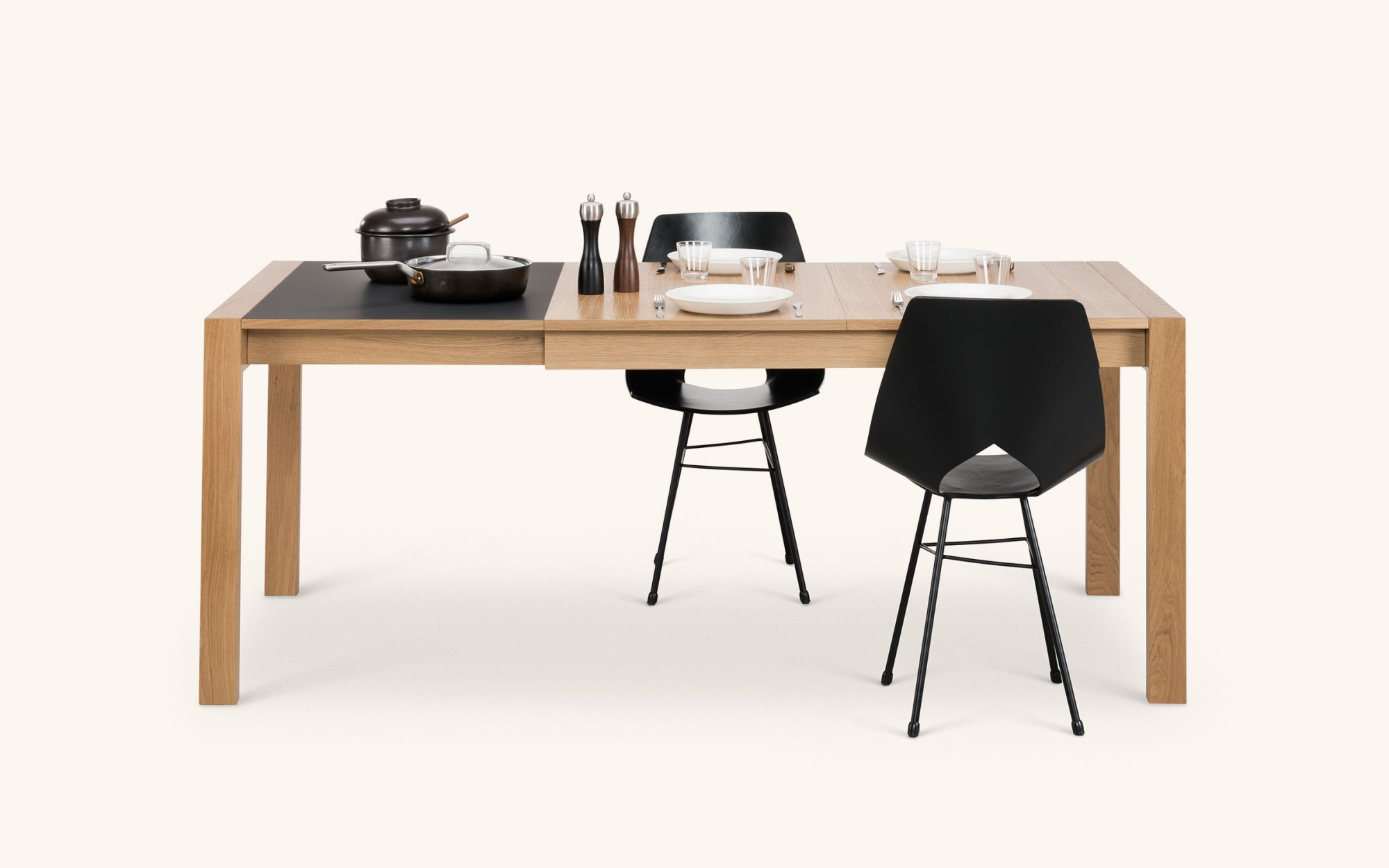 Jatko Table - oak black left group front view