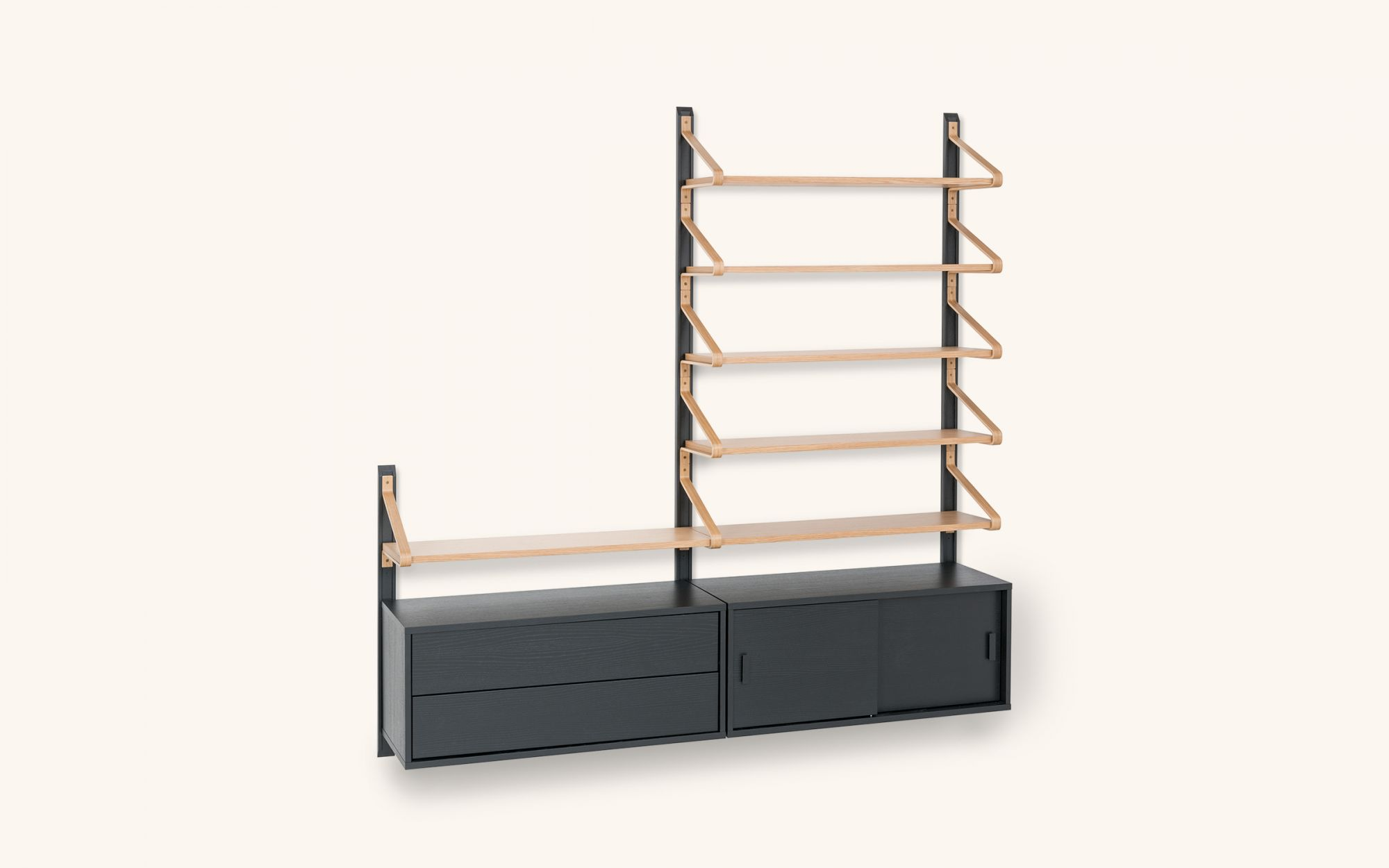 Linkki Shelf Cabinet Drawer - oak black set