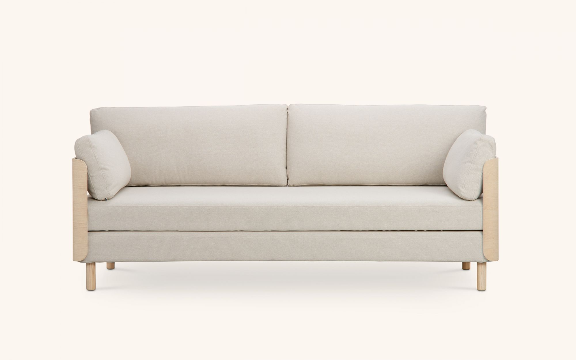 ON Wood Sofabed - oak beige front view