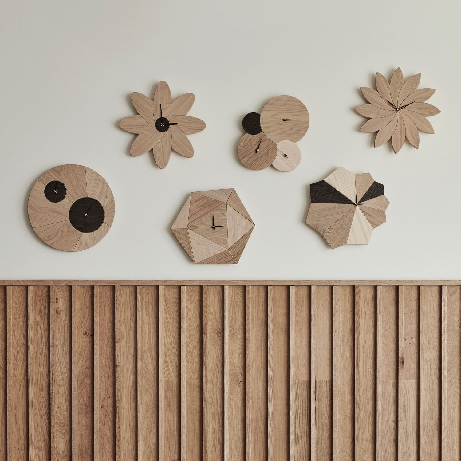 Different kind of wooden clocks