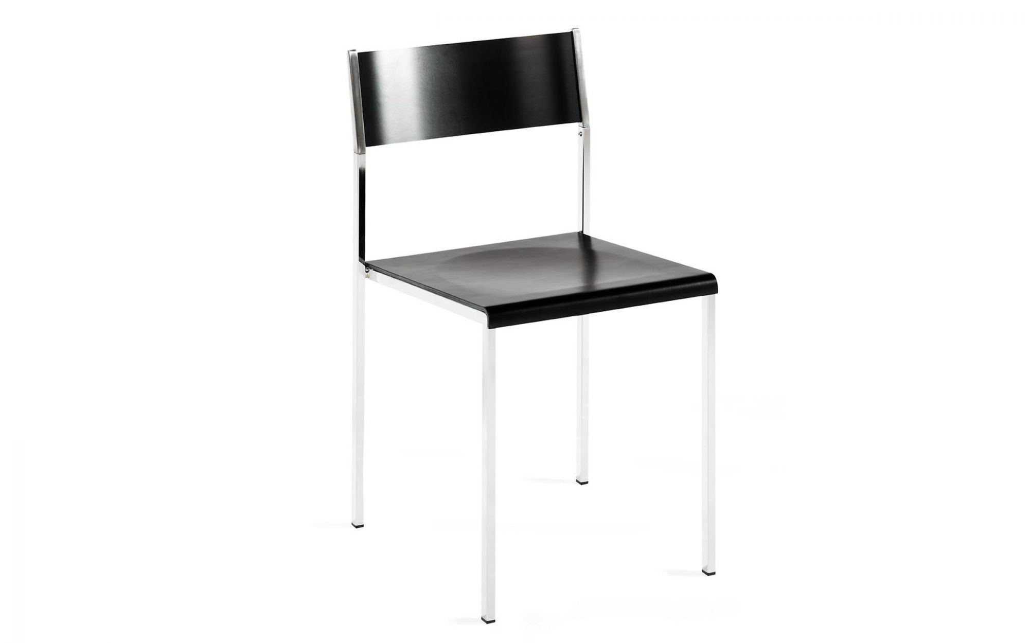 Chair Flow wood birch plywood black metal chrome
