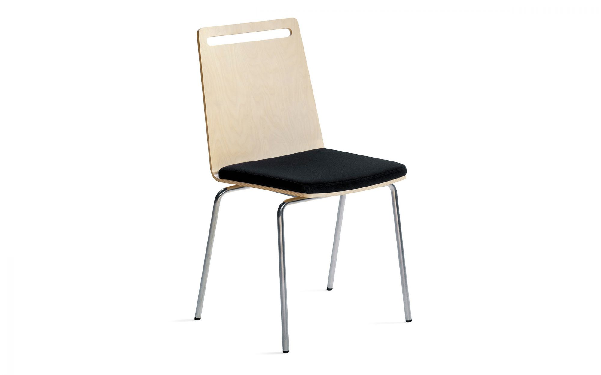Chair Moment wood birch plywood black chrome